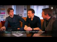 """Tom Hiddleston and Chris Hemsworth arm wrestling video. So much win. """"Be gentle with me...""""...""""Oh my God you bastard!"""""""