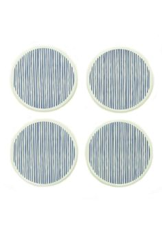 """Set of 4 coasters. 3.5"""" Diameter. Cork backing on the bottom. Wipe clean with a damp cloth.   Lines Porcelain Coasters by BRIKA - Xenia Taler. Home & Gifts - Home Decor - Dining - Table Accessories Toronto, Canada"""