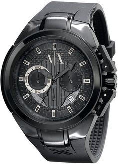 ShopStyle: AX ARMANI EXCHANGE Men's Round Black Ion-Plated Chronograph Watch