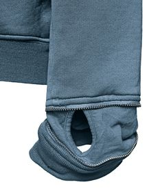 60109 HOODED SWEATSHIRT_CO FELPA MERCERIZED Hooded sweatshirt in mercerized cotton fleece. Garment dyed. Patch pockets under a horizontal cut on the front, with diagonal entrance and crease forming a dart. Ribbed cuffs rimmed by an adjustable metal zip concealing a ribbed jersey fingerless glove. Ribbed bottom hem. Metal zip fastening slightly off-centre and snap fasteners mounted on cotton tape, also found on the hood edging.