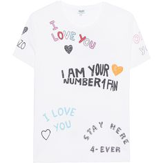 KENZO Number 1 Fan White // T-shirt with lettering ($130) ❤ liked on Polyvore featuring tops, t-shirts, cotton tee, white tee, white crew t shirt, kenzo t shirt and white cotton t shirts