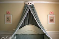 How to make a Bed Crown and Canopy using a vintage shelf and set of queen sheets