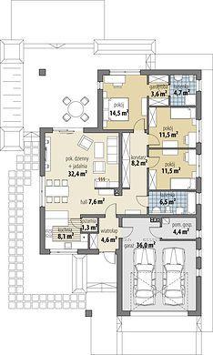 Projekt domu Bianka 114,50 m² - koszt budowy - EXTRADOM Minimalist House Design, Minimalist Home, Building Design, Building A House, Single Storey House Plans, Revit Architecture, Cottage Plan, Dream House Exterior, Conceptual Design