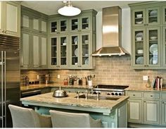 Grey, Green And Everything Inbetween - Colorful Kitchen Cabinets...