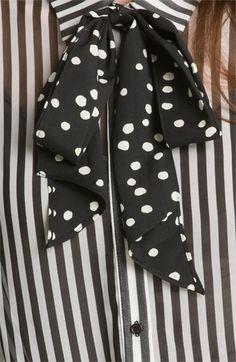 Bellatrix Mix Print Tie Neck Shirt | Nordstrom