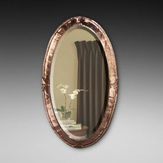 Antiques Atlas - Arts And Crafts Copper Mirror Copper Mirror, Copper Frame, Oval Mirror, Beveled Glass, Antique Art, Arts And Crafts, Antiques, Mirrors, Home Decor