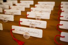 Sweet bookmark name cards for Boston Public Library Wedding, photos by Nathan Smith and Angi Welsch for Ira Lippke Studios | junebugweddings.com