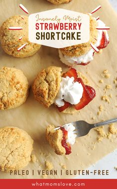 The Best Healthy Paleo Strawberry Shortcake Recipe (Super Easy! This healthy homemade dessert has moist biscuits perfect for clean eating - it's grain, gluten & dairy free + vegan Single Serve Desserts, Kid Desserts, Homemade Desserts, Healthy Dessert Options, Healthy Eating Recipes, Gluten Free Recipes For Kids, Gluten Free Baking, No Cook Meals, Kids Meals