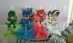 PJ masks centerpieces.  Visit my page on facebook Princess gift, the logo will be Disney baby princess.