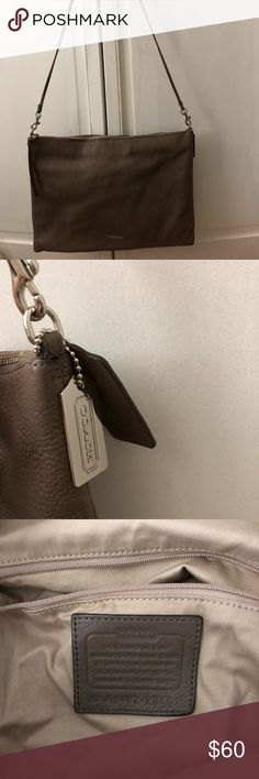 Coach handbag Gray coach handbag. Great condition. 2 small marks as pictured. Coach Bags Shoulder Bags