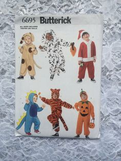 Dalmatian Dog, Dinosaur, Tiger, and Pumpkin Costumes, Baby, Toddler, Preschool Children's Costume Pattern, Butterick 6695 by EllieMarieDesigns on Etsy