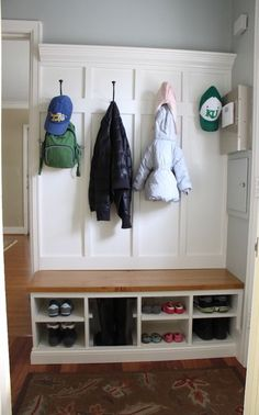 A place to organize the shoes and coats when you walk in the door.
