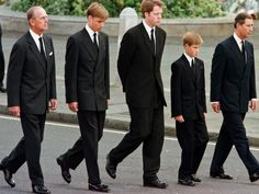 Prince Philip, Prince William, Earl Spencer, Prince Harry and Prince Charles walk outside Westminster Abbey during the funeral service for Princess Diana. Picture: AFP/Jeff J Mitchell
