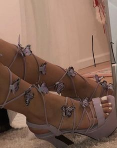 Shop Women's Dolls Kill Purple size 6 Heels at a discounted price at Poshmark. Description: Purple lace up heels with butterfly attachments, worn once. Cute Heels, Lace Up Heels, Shoes Heels, Stiletto Heels, Grunge Look, Soft Grunge, Aesthetic Shoes, Aesthetic Clothes, Urban Aesthetic