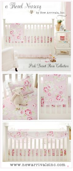 Simple yet elegant, our Pink Desert Rose Baby Crib Bedding is a classic.  Floral baby bedding is sweet and perfect for a baby girl's nursery!