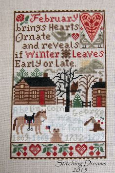 Prairie Schooler February Sampler from Stitching Dreams blog. Nice edits to original pattern.