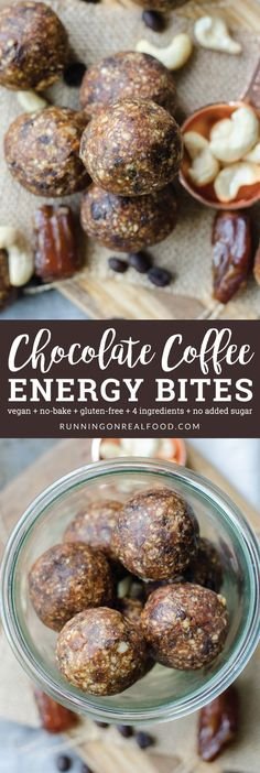 Try these easy, no-bake, vegan chocolate coffee energy bites with just 4 ingredients! Perfect for a pre-workout snack, or chop them up and add to a smoothie bowl or banana ice cream.
