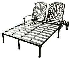 Aluminum Outdoor Double Chaise Lounge With Wheel Back