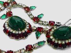 Hattie Carnegie Emerald & Ruby Necklace & Earrings Set
