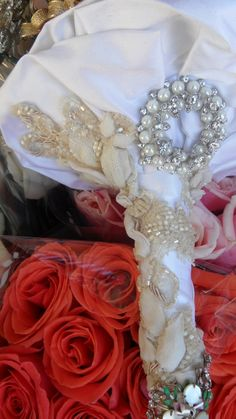 Home of the Brooch Bouquet by broochbouquets on Etsy, $275.00 love the handle on this one silk, appliquies, ribbon and lace.....