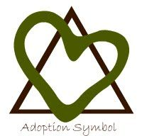 I didn't know there was a symbol for Adoption. The triangle represents the birth parents, child, and adoptive parent. The heart is the love between the three.
