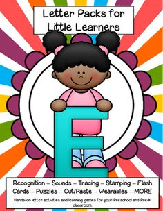 LETTER E Letters for little learners, 62 pg. - recognition, sound, tracing and craftivities. Low prep. Appropriate for pre-readers