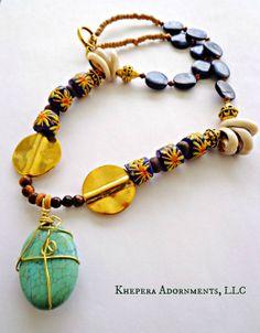 Tribal Burst Krobo Bead Necklace  African by KheperaAdornments