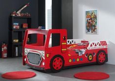 Fire engine bed available from furnituretrain.co.uk. Great for kids who love fireman sam.