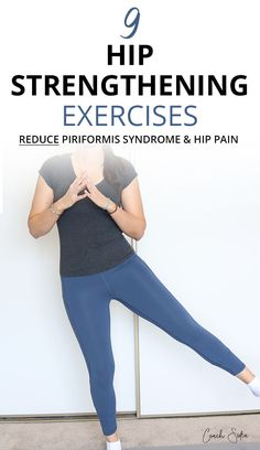 9 Exercises To Stabilize Your Hips And Strengthen The Glutes 9 hip strengthening exercises that targets the glute medius, glute maximus and glute minimus. They'll help you get relief from hip pain and reduce piriformis syndrome symptoms Hip Strengthening Exercises, Hip Flexor Exercises, Back Exercises, Training Exercises, Fitness Exercises, Workouts, Piriformis Exercises, Hip Stretching Exercises, Hip Arthritis Exercises