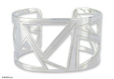 Sterling silver cuff bracelet, 'Modern Geometry' NOVICA. $307.95. Normally ships directly from Mexico within 10 days.. Handmade by Oscar Figueroa Escorcia.. A fair trade product