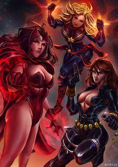 A fan art of my three favorite Marvel super heroines just in time for the Avengers Endgame Marvel Heroines, Marvel Comics Superheroes, Marvel Characters, Fictional Characters, Marvel Women, Marvel Girls, Marvel Females, Dc Comics Girls, Meninas Comic Art