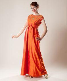 Vintage 1960s Orange Silk Dress Empire Waist by unionmadebride.