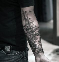75 Sweet Tattoos For Men - Cool Manly Design Ideas - Mens Sweet Sailing Ship With Ocean Waves Inner Forearm Tattoo - Unique Forearm Tattoos, Inner Arm Tattoos, Forarm Tattoos, Inner Forearm Tattoo, Forearm Tattoo Design, Body Art Tattoos, Tribal Tattoos, Nautical Tattoos, Tatoos