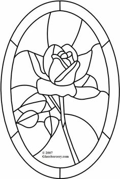 B Stained Glass Pattern: Red Rose in Oval would make a neat painting Stained Glass Patterns Free, Stained Glass Designs, Mosaic Patterns, Applique Patterns, Quilt Patterns, Flower Patterns, Glass Painting Patterns, Stained Glass Quilt, Stained Glass Flowers