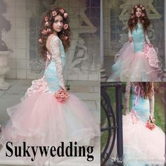 12b8e8f180 Blue And Pink Mermaid Girls Pageant Gowns Lace Long Sleeves Backless Flower Girl  Dresses For Wedding Children Prom Party Dresses