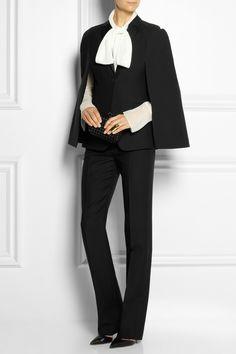 Valentinosatin-trimmed wool-blend cape and pants   Chloe chiffon blouse   Bottega Veneta 'The Knot' clutch   Gianvito Rossi mules
