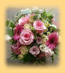 花ギフトのプレゼント【BFM】 ピンクの優しいハーモニー そんなフラワーアレンジメント http://www.basketflowermarkets.com/mayk36.htm