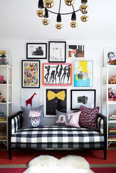 Gingham Bench and Pop Art Wall Gallery - what a bold, eclectic look in the nursery!