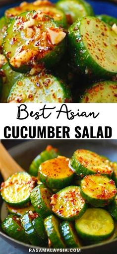 Asian Cucumber Salad - healthy cucumber salad with Asian spices. So refreshing and easy. A perfect appetizer for any meals. Best Salad Recipes, Cucumber Recipes, Cucumber Salad, Vegetable Recipes, Great Recipes, Vegetarian Recipes, Cooking Recipes, Healthy Recipes, Side Dish Recipes