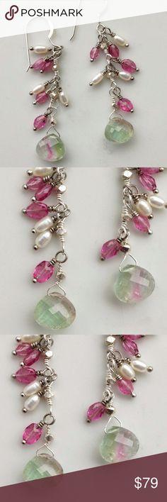 Handmade Designer Semi Precious Earrings NWOT Watermelon Tourmaline Long Shaky Earrings with Fresh Water Pearl Sterling Silver 3 inches total Length Jewelry Earrings