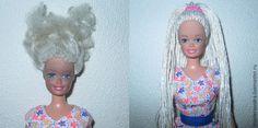 Если вдруг ваша кукла потеряла свою красоту, а именно волосы, не отчаивайтесь, есть хороший способ преобразить куклу Барби, сделать ей шикарные красивые и длинные волосы. Для начала снимите резиновую голову куклы, далее уберите имеющиеся волосы, затем помойте голову и высушите. Берем рыболовные нити и нарезаем необходимую длину.