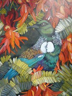 New Zealand red Kaka beak flowers and tui - Painting, m by Janine Westbury - Prowse - Kiwiana, Painting Inspiration, New Art, Flower Art, Landscape Paintings, New Zealand, Rooster, Flora, Original Art