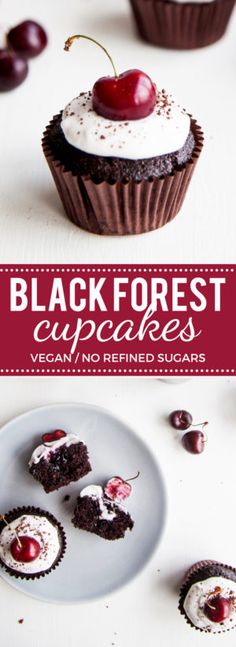 Black Forest Cupcakes! Rich chocolate cupcakes filled with cherry jam and topped with coconut cream (vegan + no refined sugars)