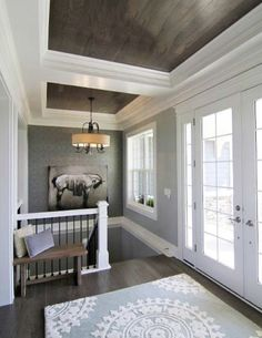 wood panels with white trim....love the colors & wood on the ceiling