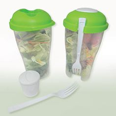 """Enjoy fresh salad on the go! Self-contained, travel ready BPA-free plastic containers provide everything you need to enjoy fresh vegetable or fruit salads on the run. Easy grab design holds fork at the ready, with a 2-oz. container in the lid for dressing or dip. Each holds 4 cups of salad. Dishwasher safe. Each: 8""""H x 3""""W x 4""""L Product Number: PM22021 http://lindafbrown.shopregal.ca/PWS/Products/ProductDetails.aspx?prodid=13675&st=SKU&sc=[]&ss=SALAD+TO+GO+FOOD+CONTAINER"""