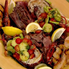 Mario Batali's Grilled Lobsters and Hangar Steak with Cucumber Salad recipe. #thechew