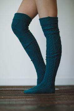 Teal Knitted Slippers Boot Socks Over the Knee door ThreeBirdNest, $48.00