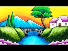 River Drawing, Bridge Drawing, Drawing Sunset, Drawing Classes For Kids, Scenery Drawing For Kids, Art Drawings For Kids, Oil Pastel Drawings, Art Drawings Sketches Simple, Colorful Drawings