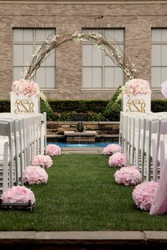 pink Wedding ceremony flowers, wedding aisle décor, pew flowers, wedding flowers, add pic source on comment and we will update it. www.myfloweraffair.com can create this beautiful wedding flower look.