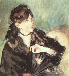 Portrait of Berthe Morisot by Edouard Manet Medium: oil on canvas